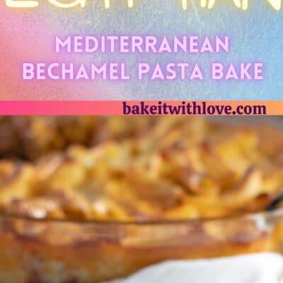 Pin tinggi untuk roti pasta bechamel atau macarona bechamel dengan 2 gambar.