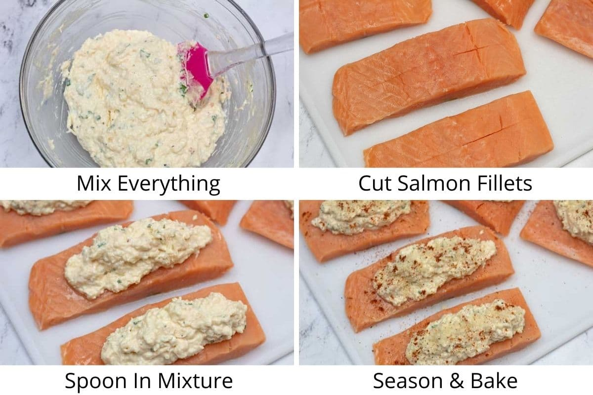Process photos of preparing and stuffing the salmon fillets.