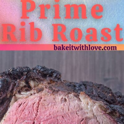 Tall pin for smoked prime rib showing 2 images of the prime rib with text divider.
