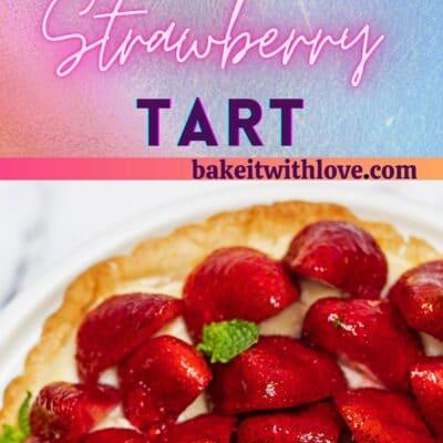 Tarte auxFraisesまたはフレンチストロベリータルトのトールピン。デザートの画像が2枚表示されます。