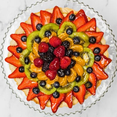 Tarte aux Fruits overhead foto op glasplaat.
