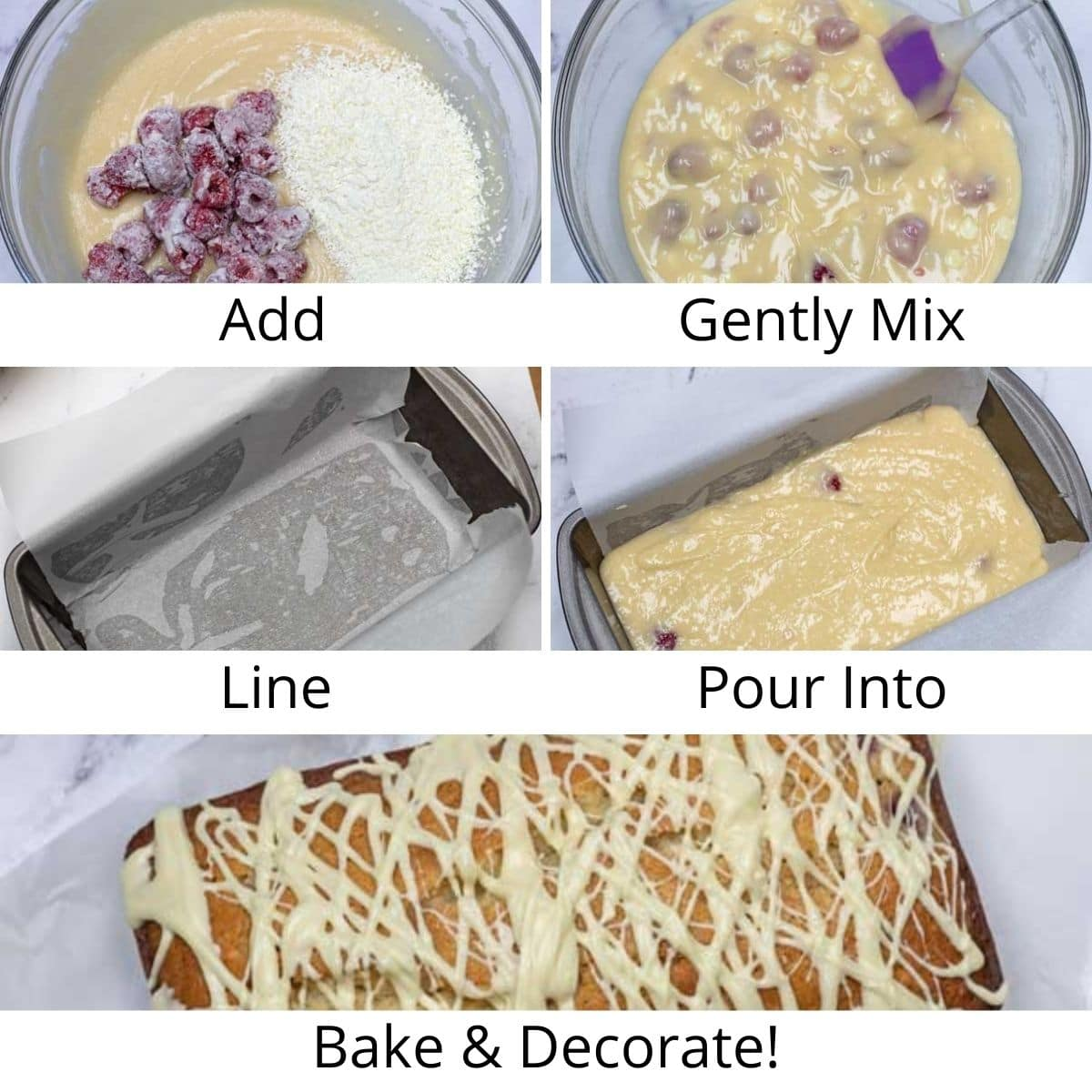 Step by step process photos of making the loaf cake.
