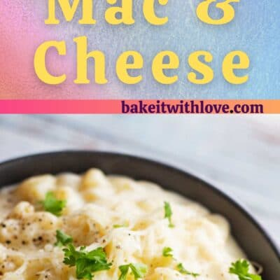 White cheddar mac and cheese pin with 2 images and text divider.