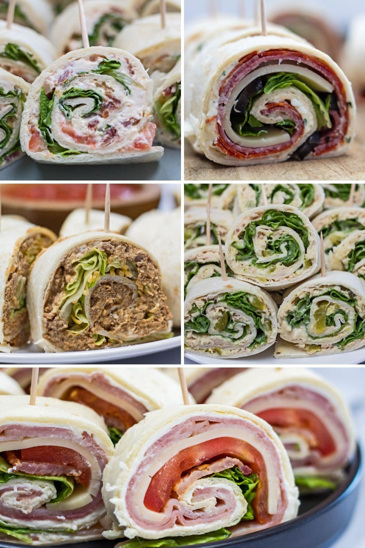Pinwheel sandwiches collage showing 5 different rollup flavors.
