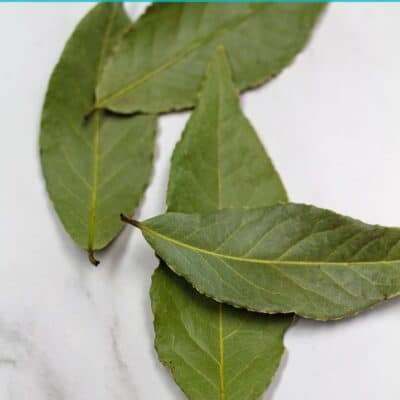 Pin for bay leaf substitute options showing dried bay leaves.