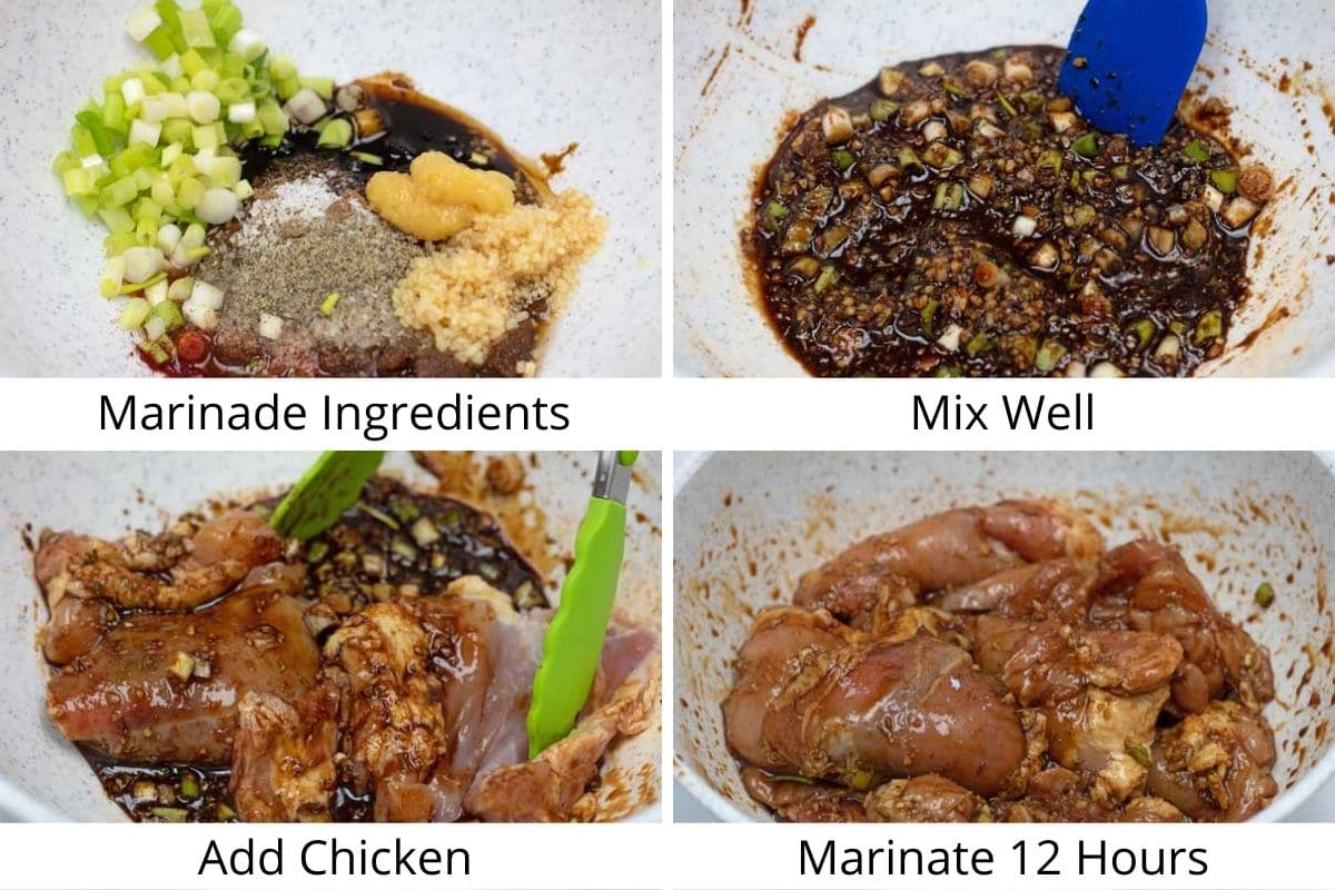 Process photos of making the marinade and marinating the chicken.