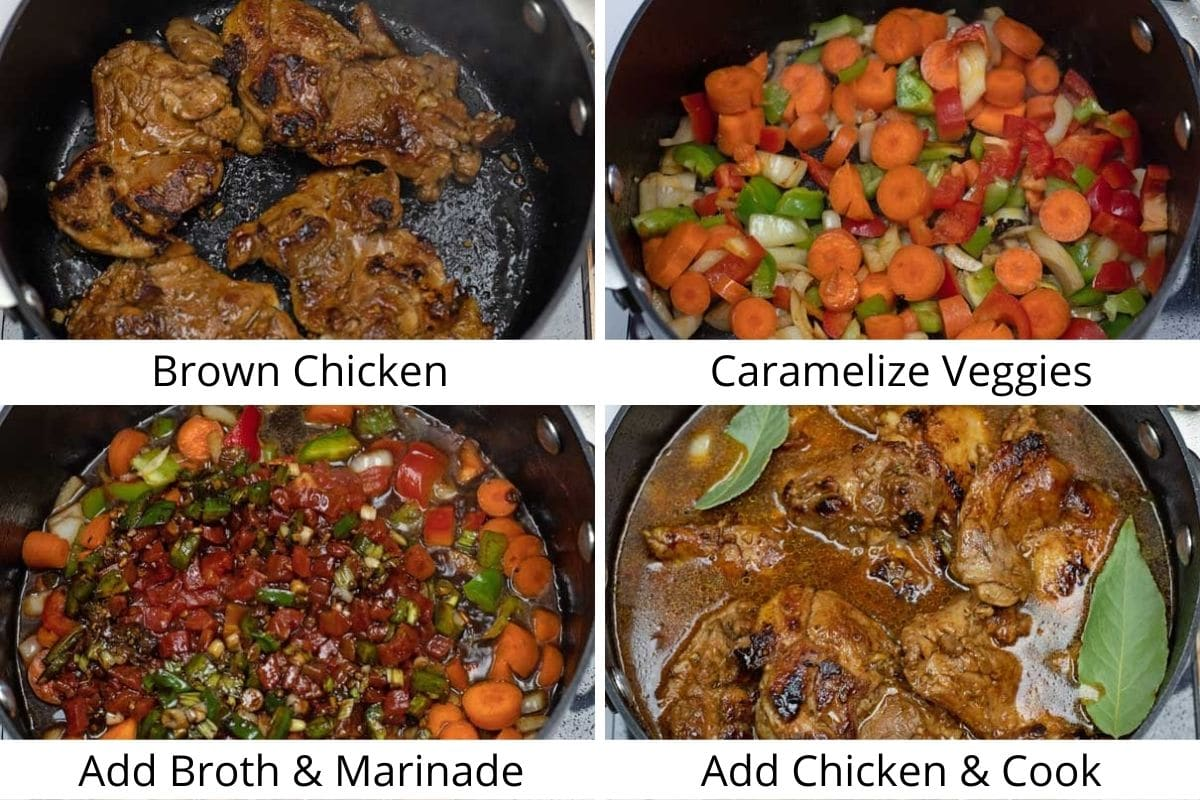 Process photos of searing the chicken and making the brown stew chicken.