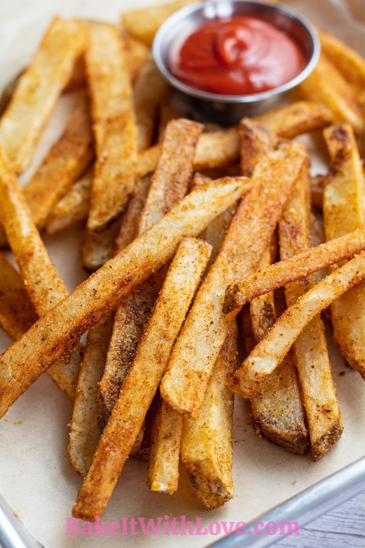 Seasoned Cajun fries double fried to perfection and served with ketchup.