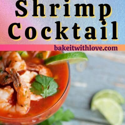 Tall pin for Coctel de Camarones Mexican shrimp cocktail with 2 images and text divider.