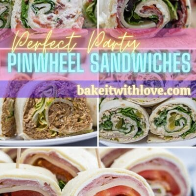 Pinwheel sandwiches pin with collage photo and text header.