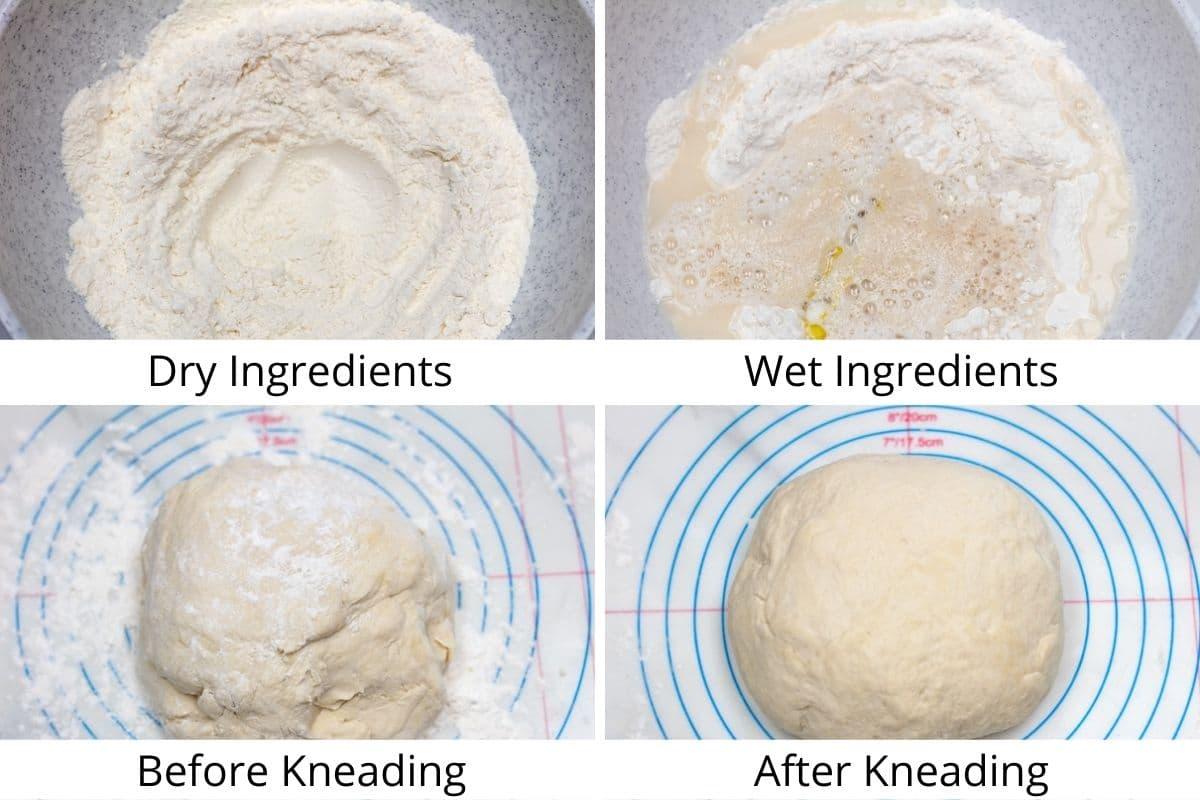 Process photos set 1 of mixing and rising the dough.