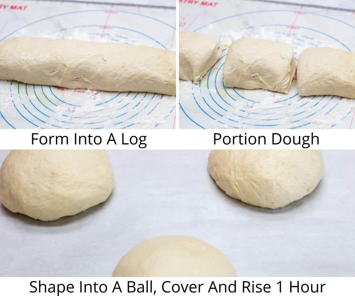 Process photos set 2 of working with the dough after the first rise.