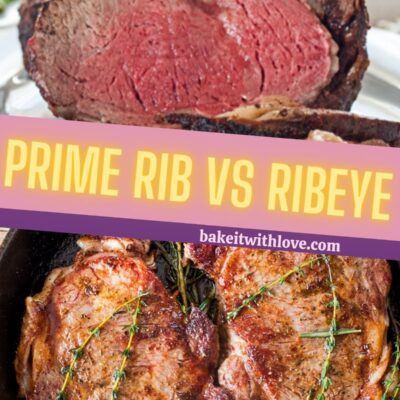 Prime Rib vs Ribeye what's the difference pin with text divider.