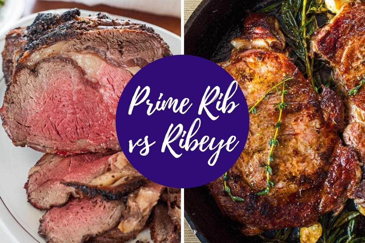 Prime rib vs ribeye what's the difference shown with side by side photos.
