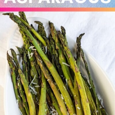 Smoked asparagus pin with text header.