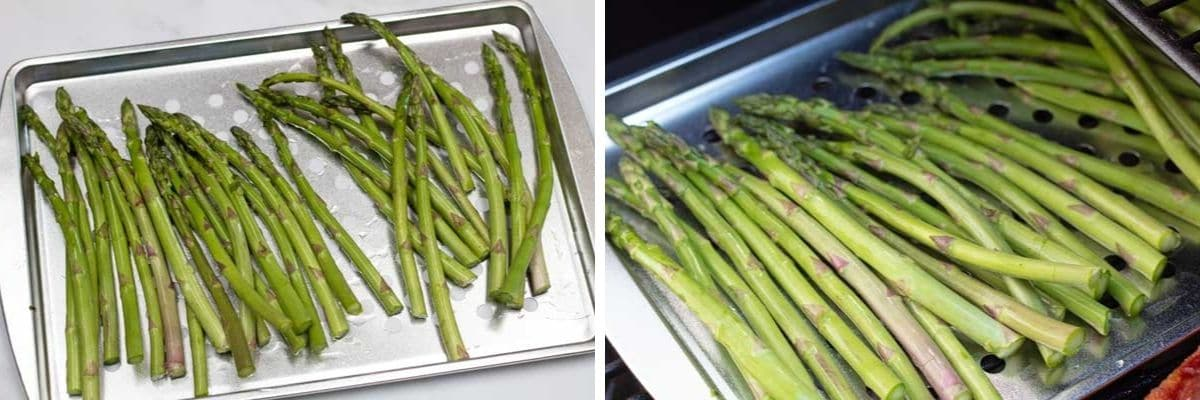 Process photos of preparing the asparagus and transferring into the smoker.