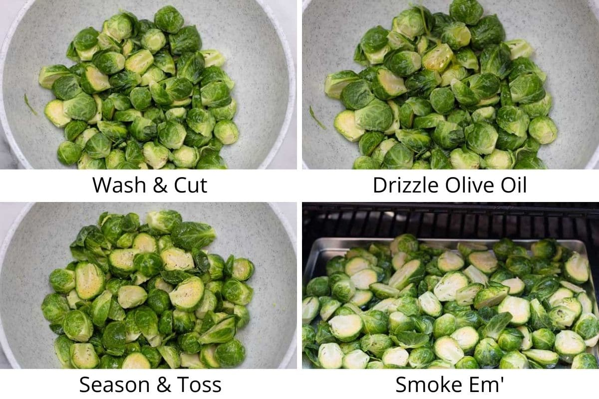 Smoked brussel sprouts process photos of preparing and smoking.