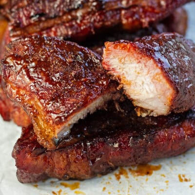 Smoked country style ribs served on sheet pan.