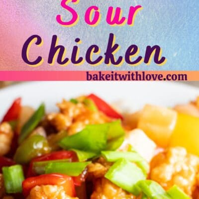 Sweet and sour chicken pin with 2 images and text divider.