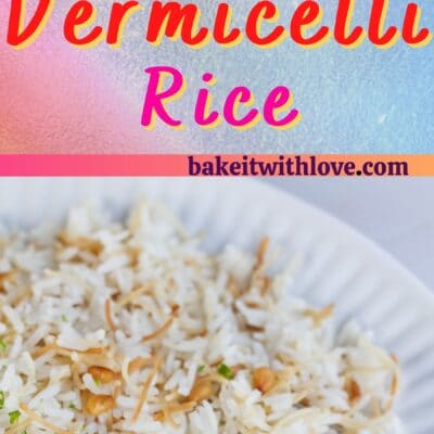 Tall Vermicelli Rice pin with 2 images and text divider.