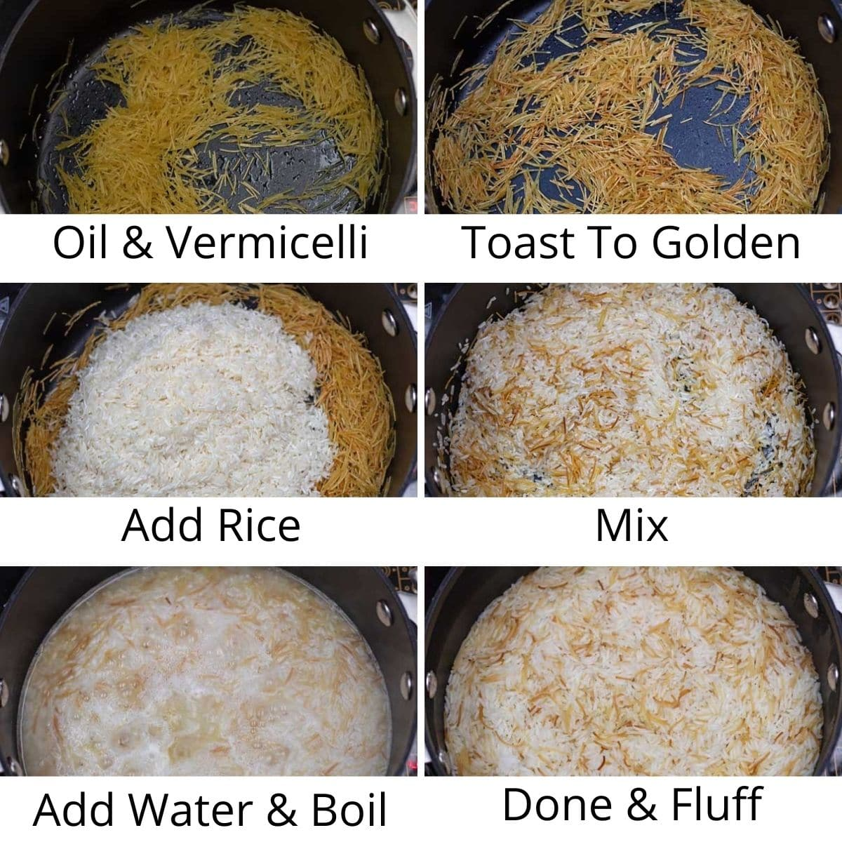 Process photos of making the vermicelli rice.