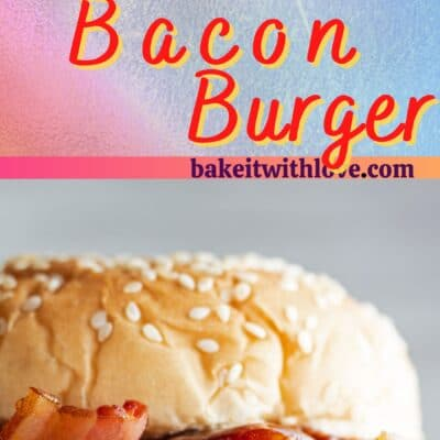 Tall pin for western bacon cheeseburger with 2 images of the bruger with onion rings.