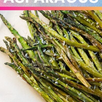 Air fryer asparagus pin with text header.