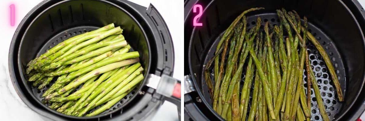 Process photos of making air fryer asparagus.