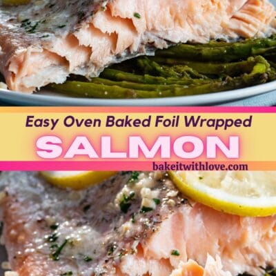 Baked salmon in foil pin with 2 images and text divider.