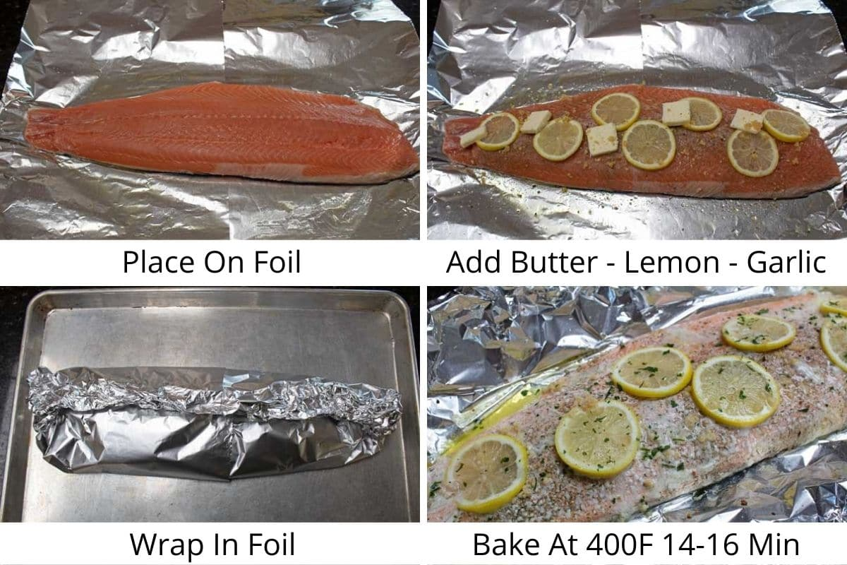 Process photos of seasoning and wrapping the salmon in foil.