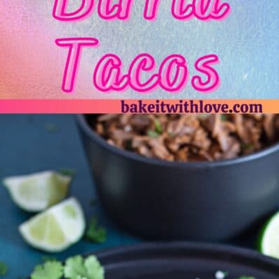 Birria Quesatacos pin with 2 images and text divider.