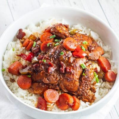 Rijke en smaakvolle bruine stoofpot kip geserveerd over rijst in witte kom.