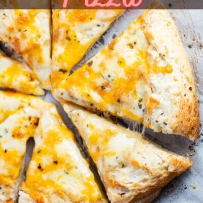 Garlic pizza pin with sliced pizza and text header.