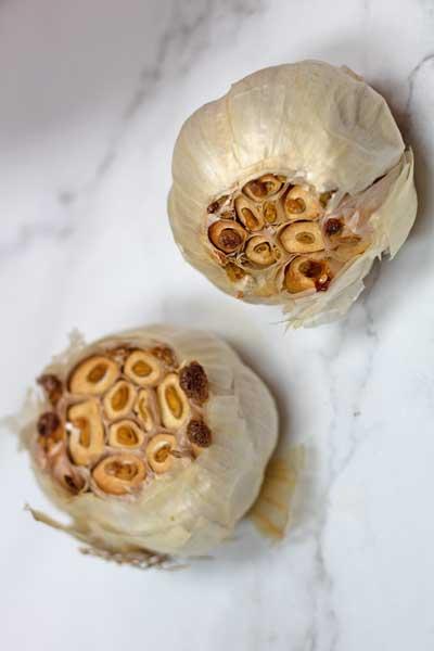 Process photo 1 roasting the garlic.