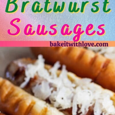 Grilled brats pin with 2 images and text divider.