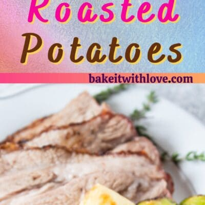 Crispy oven roasted potatoes pin with 2 images and text divider.
