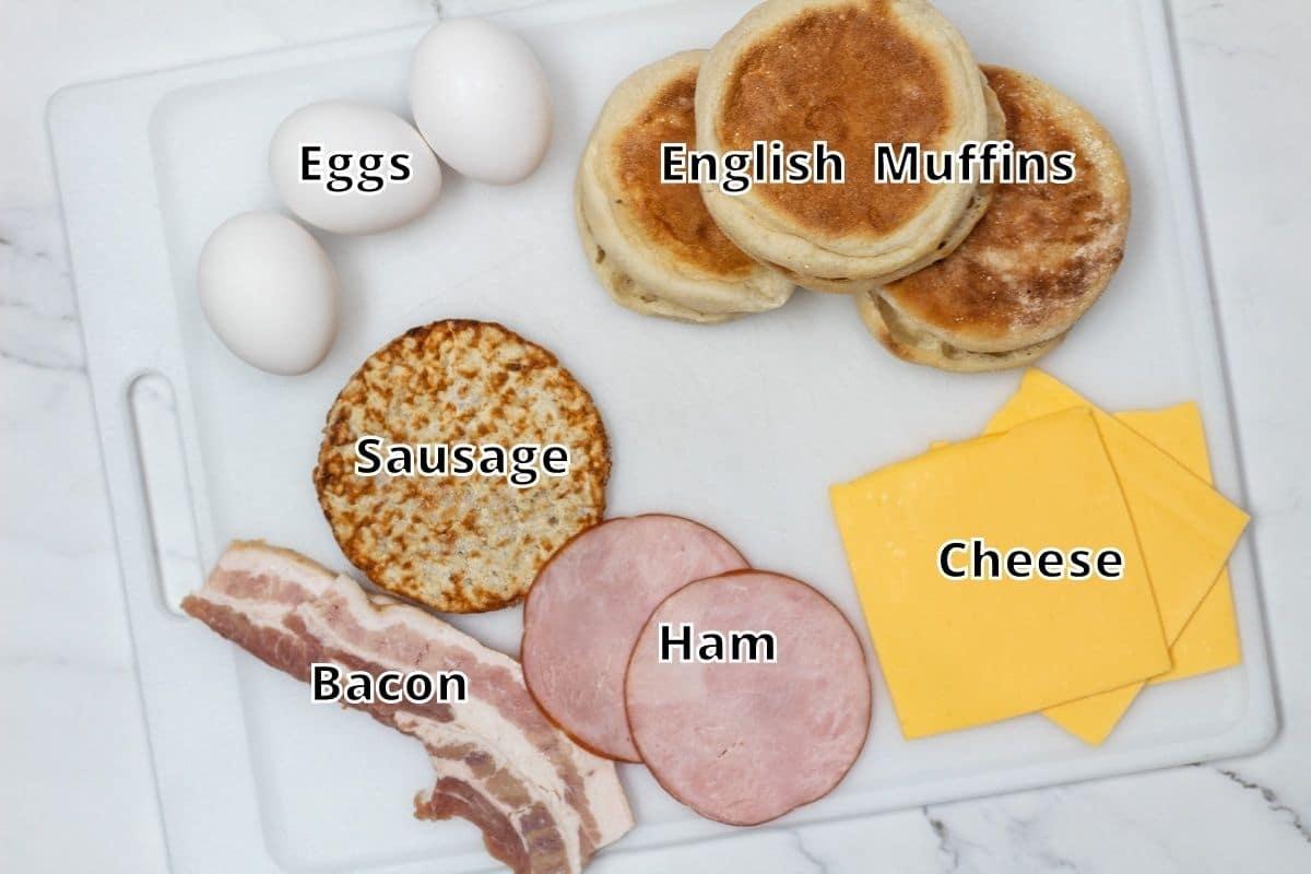 Breakfast sandwich ingredients photo with labels.