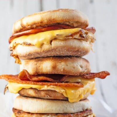 Breakfast sandwich pin with text header.