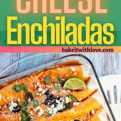 Pino de enchiladas de queijo com 2 imagens das enchiladas e divisor de texto.