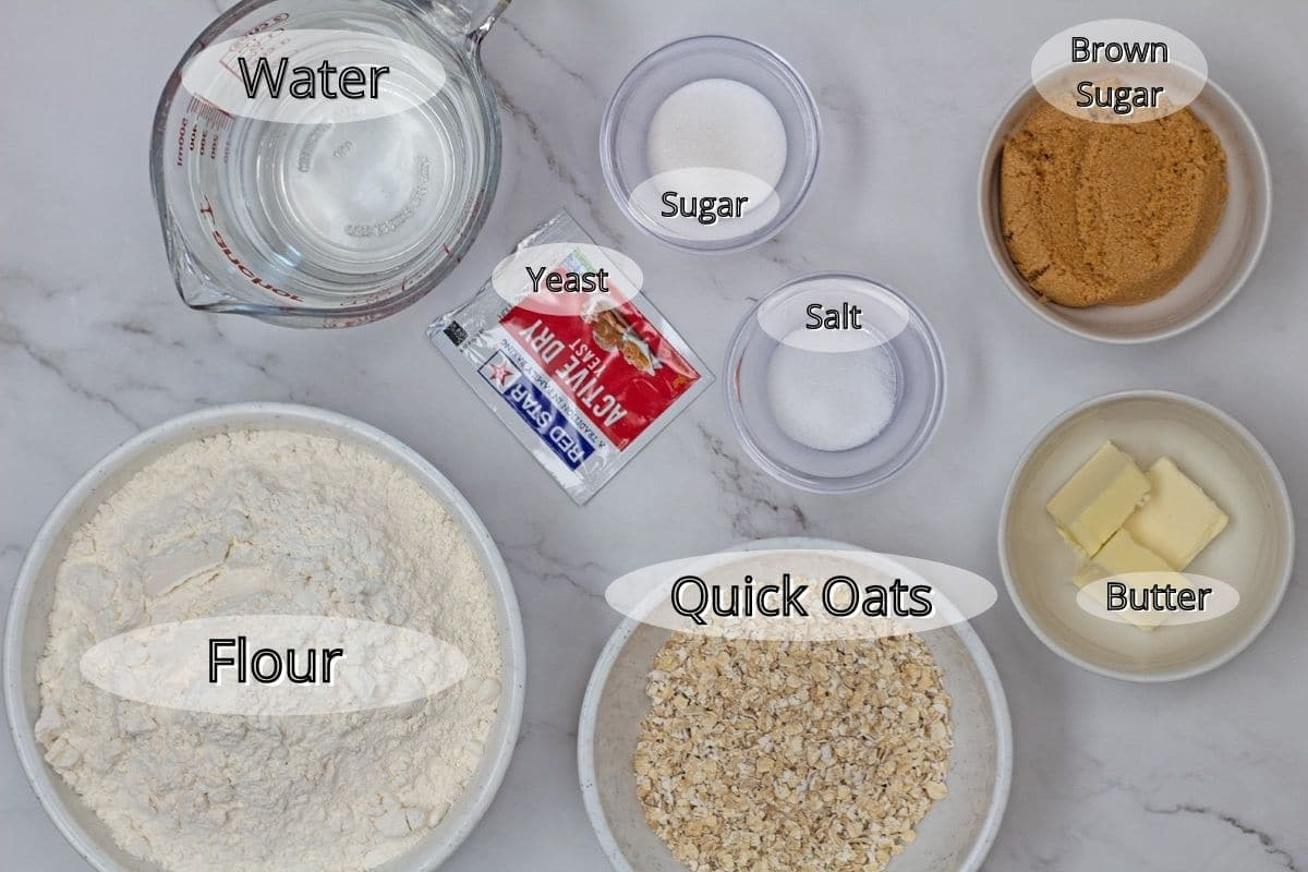 Oat rolls ingredients measured out with labels.