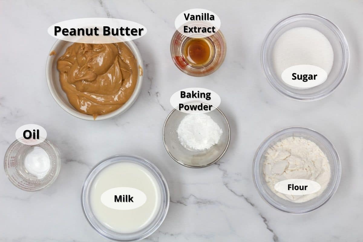 Peanut butter mug cake ingredients with labels.