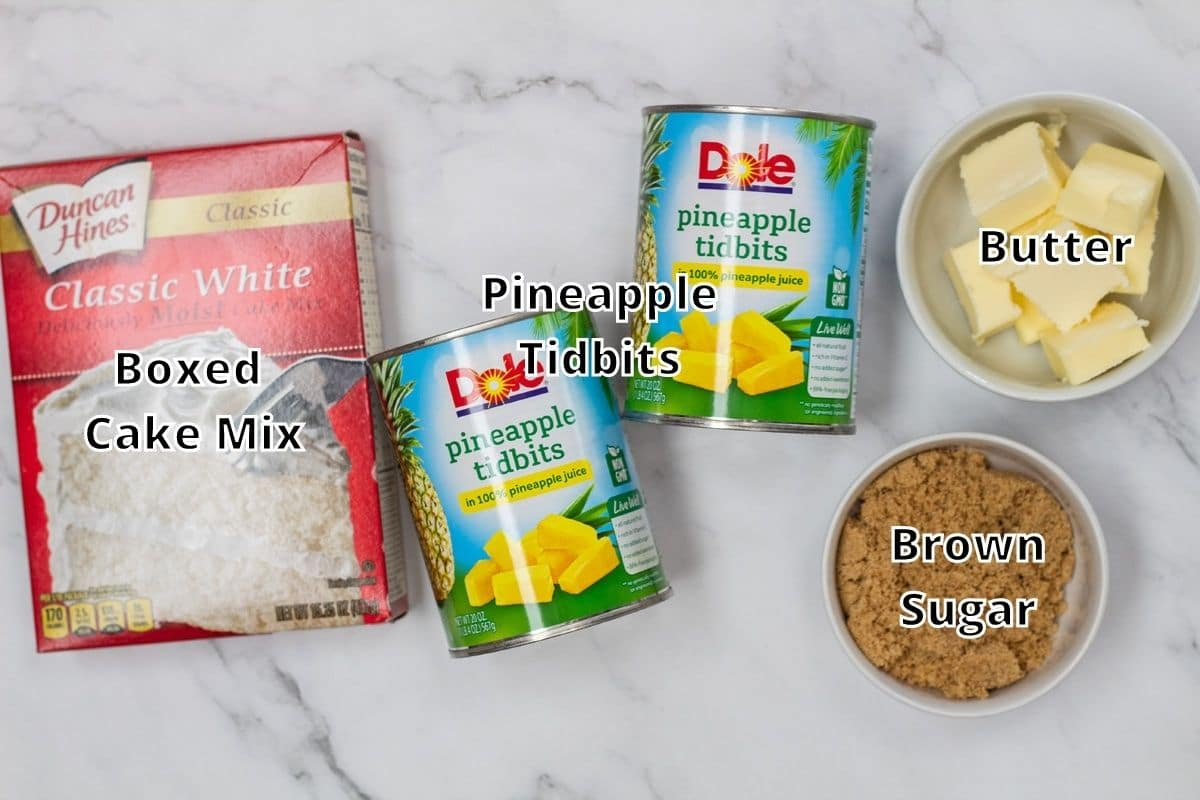 Pineapple dump cake ingredients with labels.