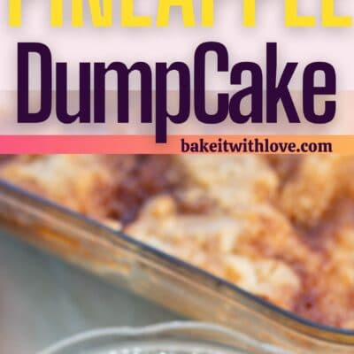 Pineapple dump cake pin with 2 images and text divider.