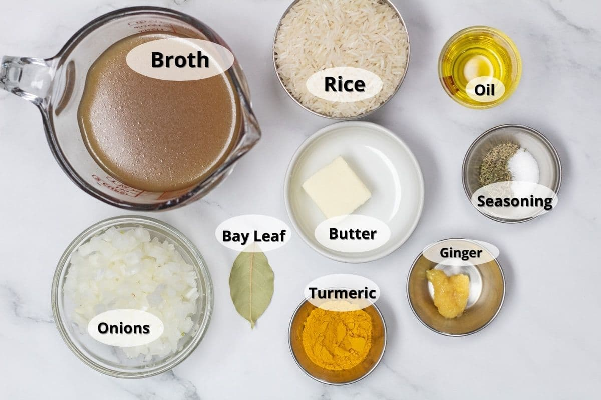 Turmeric rice ingredients with labels.