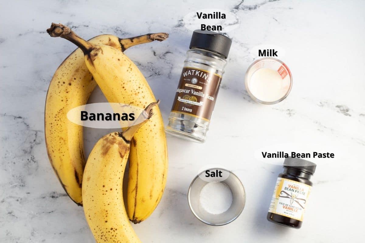 Ingredientes de crema de vainilla con opciones de vainilla.