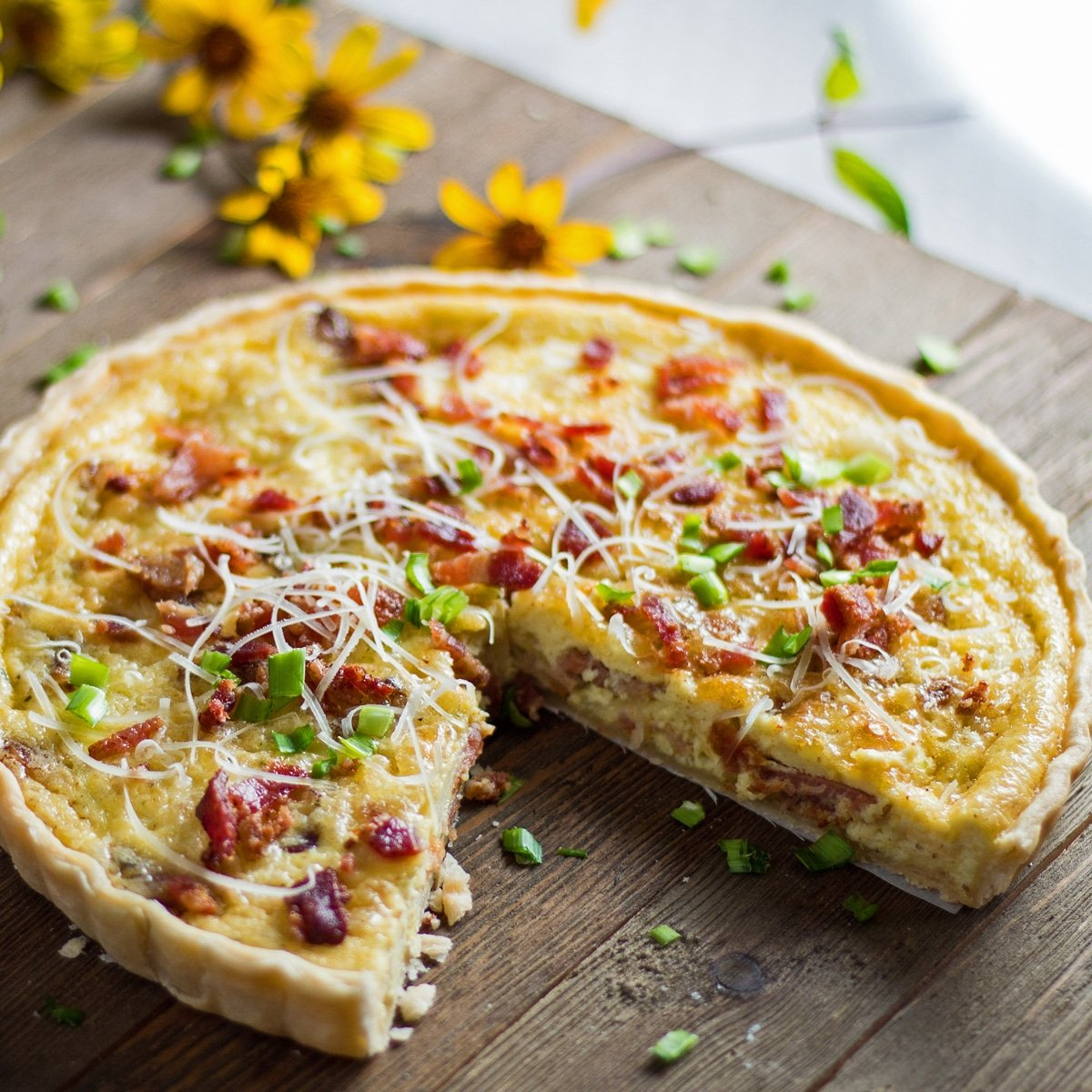 What to serve with quiche when sliced and ready to enjoy.