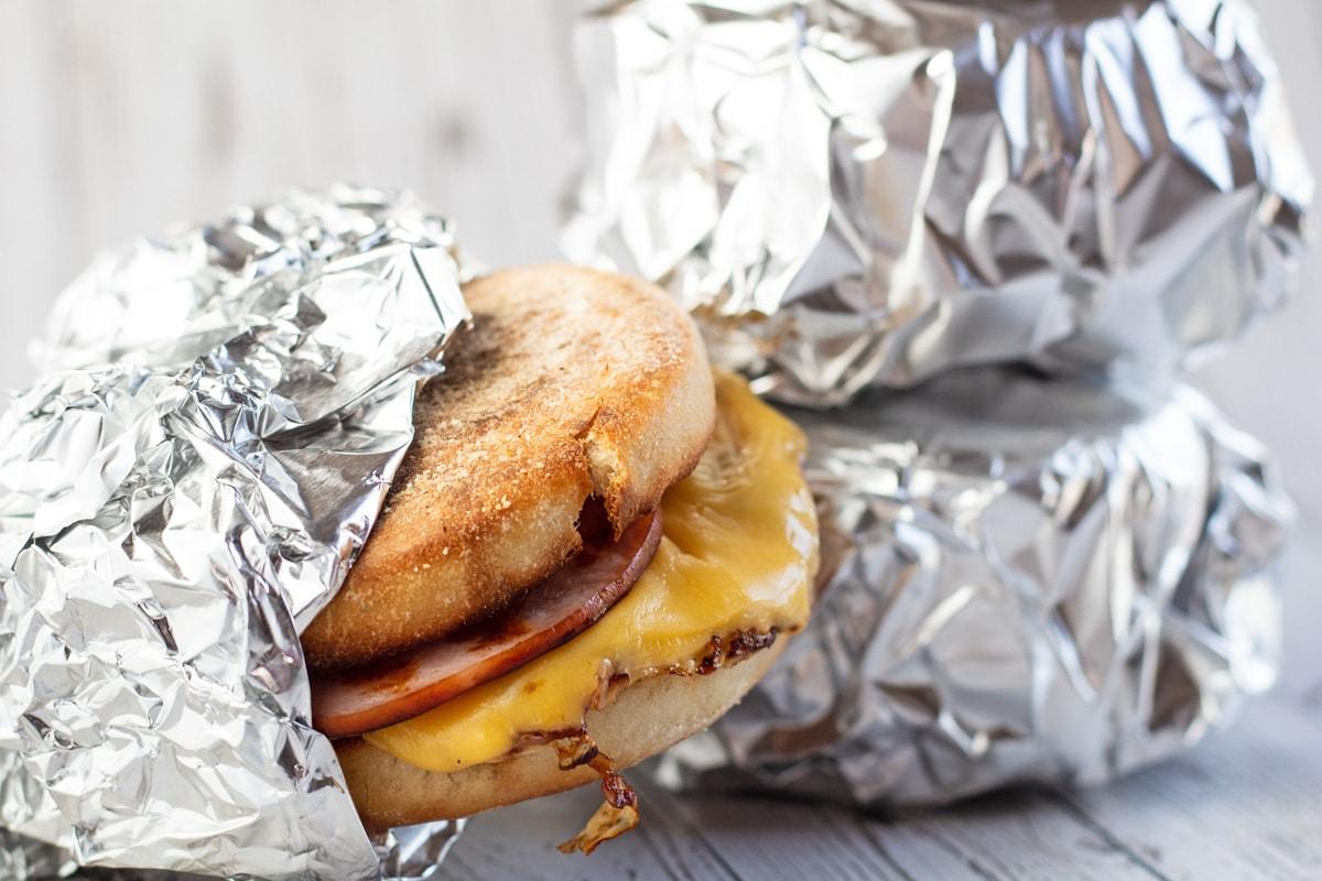 Ready to eat breakfast sandwich with aluminum foil wrapper.