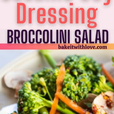Broccolini salad pin with 2 images and text divider.