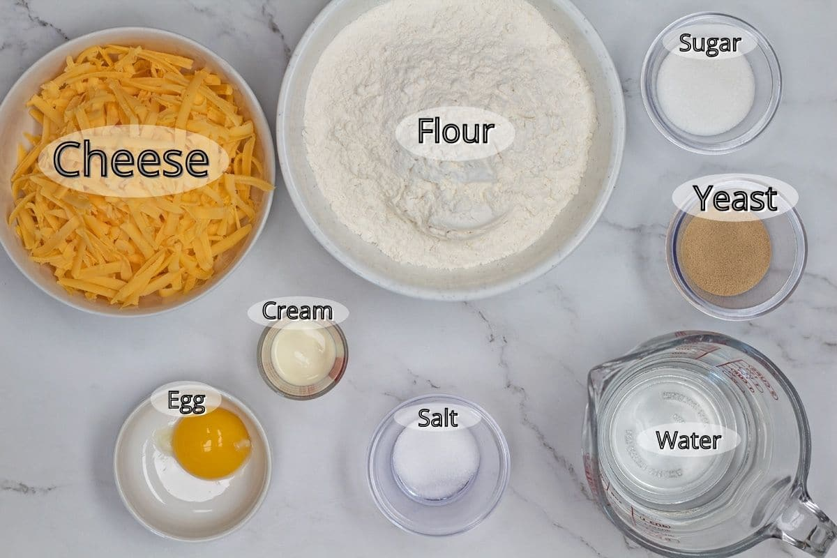 Ingredients to make the cheese rolls.