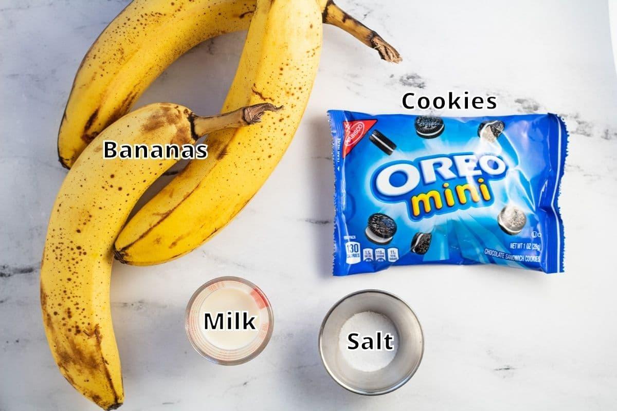 Cookies n cream nice cream ingredients with labels.
